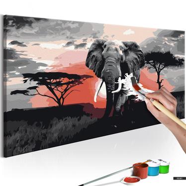 Malen nach Zahlen ELEFANT IN AFRIKA 80x40 cm