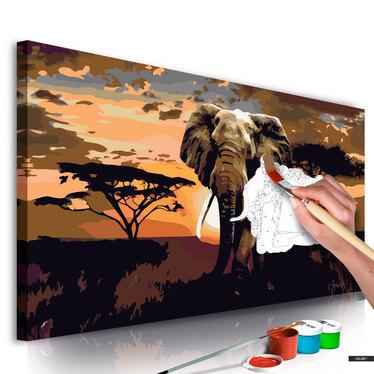 Malen nach Zahlen ELEFANT IN AFRIKA IN BRAUNTÖNEN 80x40 cm