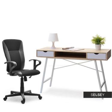 Schreibtisch-Set GAVLE weiß/Sonoma mit Drehstuhl SUNDS