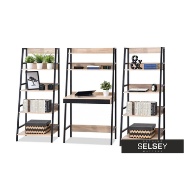 Schreibtisch-Set BERG mit 2 Regalen schwarz/Sonoma Eiche