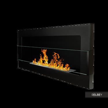 Ethanol-Kamin BIG FLAME schwarz 90x40 cm mit Struktur