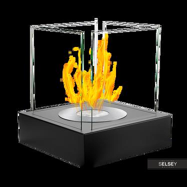 Biokamin CUBE, schwarz mit Struktur