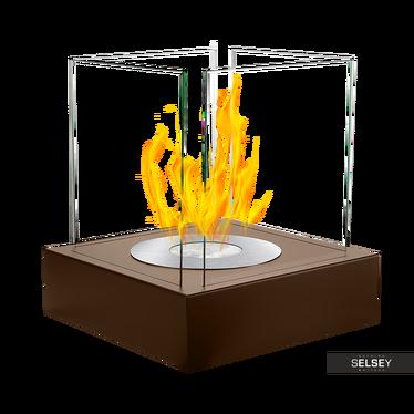 Biokamin CUBE, braun mit Struktur