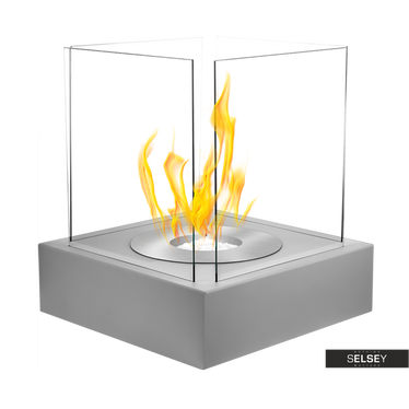 Ethanol-Kamin CUBE grau mit Struktur