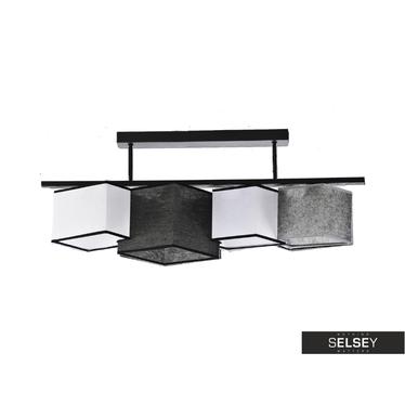Pendelleuchte GEOMETRY schwarz/weiß/grau mit schwarzer Borte