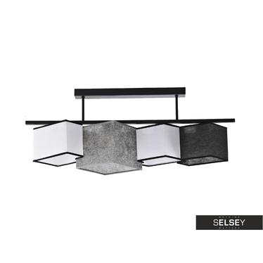 Pendelleuchte GEOMETRY grau/weiß/schwarz mit schwarzer Borte