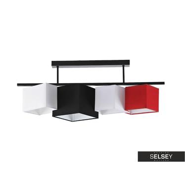 Pendelleuchte GEOMETRY schwarz/weiß/rot
