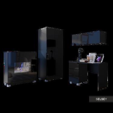 Möbel-Set KIRDON mit Schrank, Sideboard, Schreibtisch und Wandregal