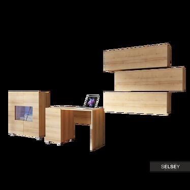 Möbel-Set KIRDON mit Schreibtisch, Sideboard und 3 Wandregalen