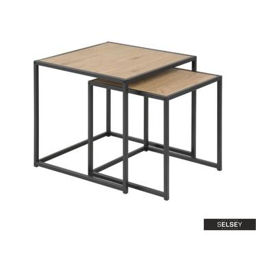 Beistelltisch-Set SEAFORD Eiche/schwarz 2-teilig