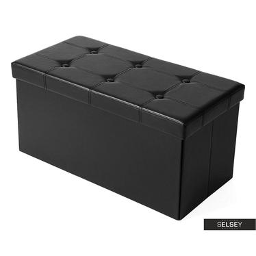 Truhe LOUTA schwarz 76x38 cm mit Knopfheftung
