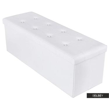 Truhe LOUTA weiß 110x38 cm mit Knopfheftung