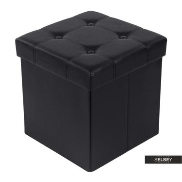 Pouf LOUTA schwarz 38x38 cm mit Knopfheftung und Stauraum