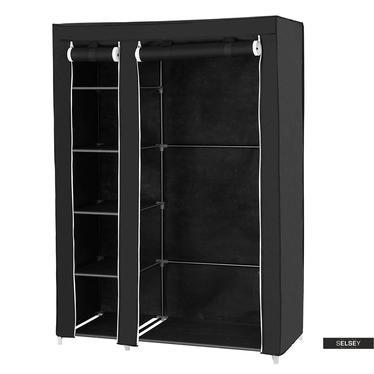 Kleiderschrank TEXTIL schwarz 110 cm