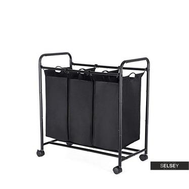 Wäschekorb BARATINS schwarz mit 3 Kammern