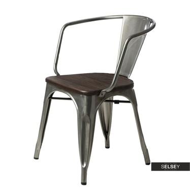 Stuhl PARIS ARMS WOOD Metalloptik/Kiefer