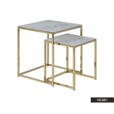 Beistelltisch-Set ALISMA 2-teilig mit goldenen Füßen