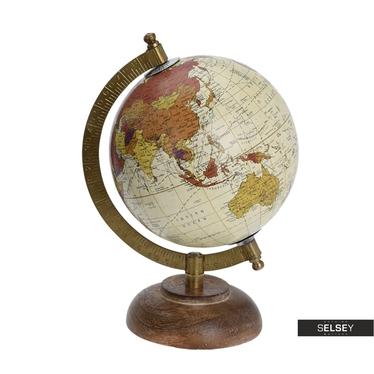 Globus cremefarben 13 cm mit Holzfuß