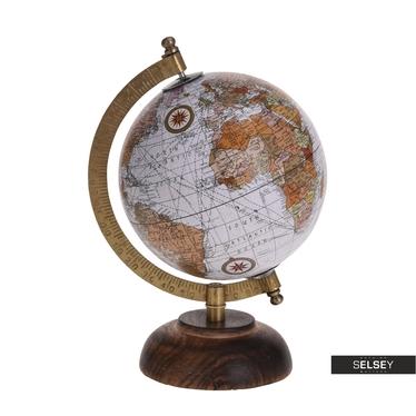 Globus grau 13 cm mit Holzfuß