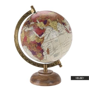 Globus cremefarben 16 cm mit Holzfuß