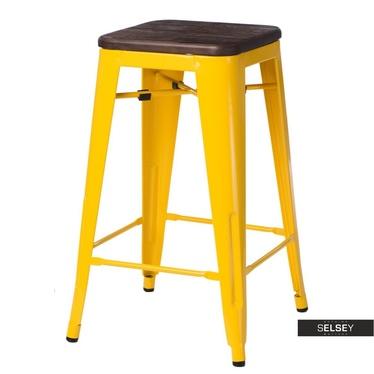 Barhocker PARIS WOOD gelb/Kiefer dunkel 75 cm