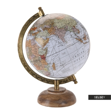 Globus grau 16 cm mit Holzfuß