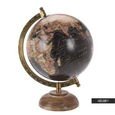 Globus schwarz 16 cm mit Holzfuß