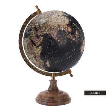 Globus schwarz 20 cm mit Holzfuß