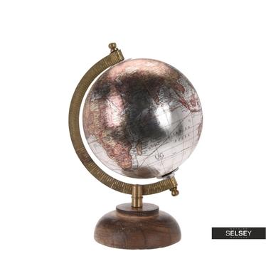 Globus silber 13 cm mit Holzfuß