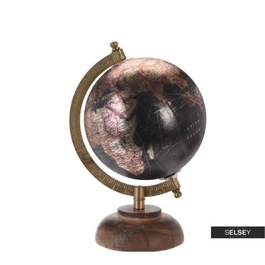 Globus metallic schwarz 13 cm mit Holzfuß