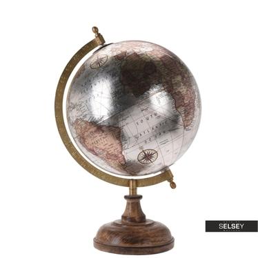 Globus silber 20 cm mit Holzfuß