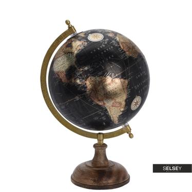 Globus metallic schwarz 20 cm mit Holzfuß