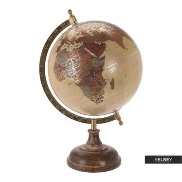 Globus cremefarben mit Goldelementen 20 cm mit Holzfuß