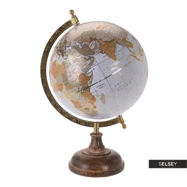 Globus grau mit Goldelementen 20 cm mit Holzfuß