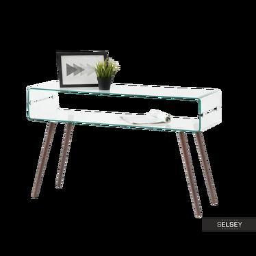 Schreibtisch AMBER aus Glas/Nussbaum