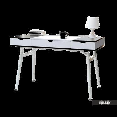Schreibtisch BODEN schwarz/weiß mit Schublade