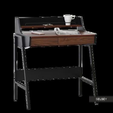 Schreibtisch BORR schwarz/Nussbaum mit Aufsatz und 2 Schubladen