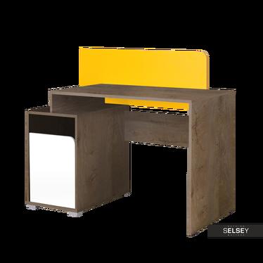 Schreibtisch JALIME Holzoptik/weiß/gelb
