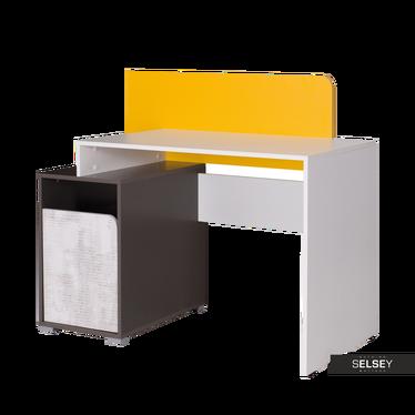Schreibtisch JALIME weiß/grau/gelb