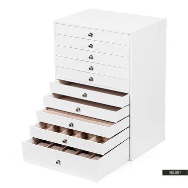 Schmuckkästchen QUARTZ weißer Leder-Look mit 10 Schubladen