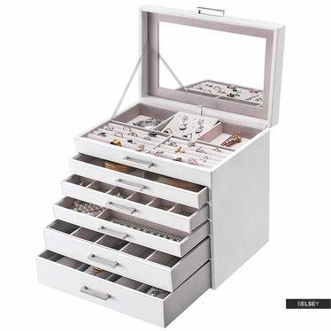 Schmuckkästchen QUARTZ weißer Leder-Look mit 5 Schubladen
