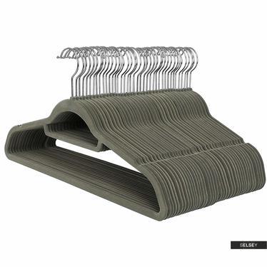 Kleiderbügel MOSE 50 Stück khaki rutschfest mit drehbarem Haken