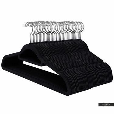 Kleiderbügel MOSE 50 Stück schwarz rutschfest mit drehbarem Haken