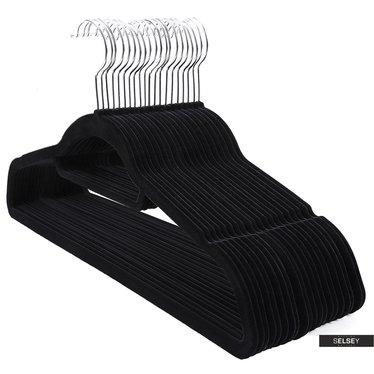 Kleiderbügel MOSE schwarz 20 Stück rutschfest mit drehbarem Haken