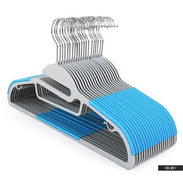 Kleiderbügel MOSE 20 grau/blau rutschfest mit drehbarem Haken und Krawattenhalter