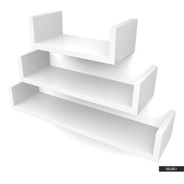 Wandregal KALIOPSI weiß 3er Set 30 cm, 45 cm, 60 cm
