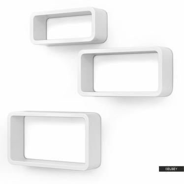 Wandregal KALIOPSI weiß 3er Set oval mit abgerundeten Ecken
