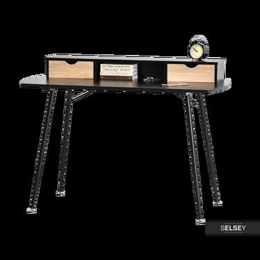Schreibtisch MALMO Sonoma Eiche/schwarz mit Aufsatz