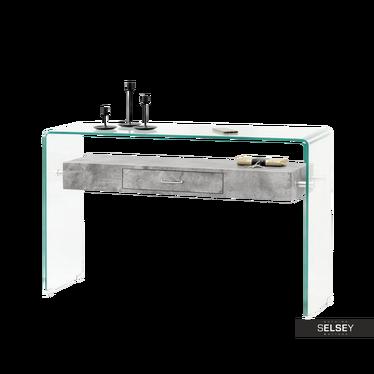 Schreibtisch KATSITA Glas/Betonoptik mit Schublade