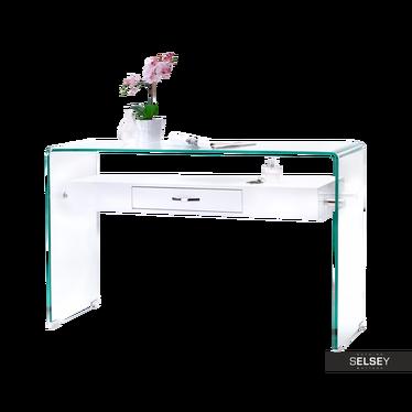 Schreibtisch KATSITA Glas/weiß mit Schublade